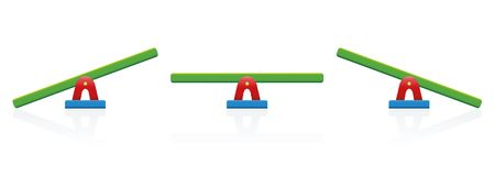 Seesaw Balance Scale Colorful. Seesaw - colored balance toy set - three positions, balanced and unbalanced, equal and unequal weightiness - isolated vector vector illustration