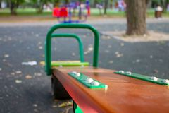 A seesaw on children`s playground, selective focus royalty free stock images