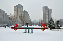 Seesaw in City Park During Winter Royalty Free Stock Images