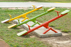 Seesaw. Colorful seesaw in outdoor playground for kids Stock Photography