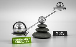 Energy Transition, More Renewable Energies And Less Fossil Fuels. Seesaw containing big and small spheres inclined on the renewable energies side. Concept of Royalty Free Stock Images