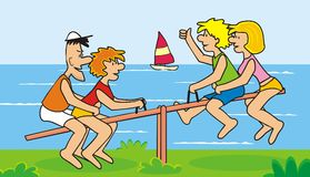 Seesaw and family Stock Images