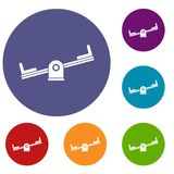 Seesaw icons set. In flat circle reb, blue and green color for web Royalty Free Stock Photography