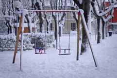 Seesaw for kids in the Park. Pesaro, Italy Stock Photos
