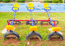 Seesaw Kids playground. Placed at Kindergarten Royalty Free Stock Photo