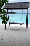 Seesaw on the Maldivian beach. Empty seesaw on the beach, Maldives stock photos