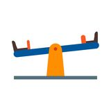 Seesaw. Playground, kids, seesaw icon vector image. Can also be used for town. Suitable for web apps, mobile apps and print media Stock Images