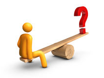 Seesaw - Question Mark. Stick figure sitting on seesaw with Question Mark Royalty Free Stock Image