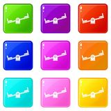 Seesaw set 9. Seesaw icons of 9 color set isolated vector illustration Stock Photos