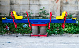 Seesaw. The seesaw  Surrounded by garbage Royalty Free Stock Images