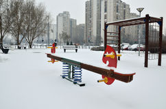 Seesaw in Winter Day Stock Image