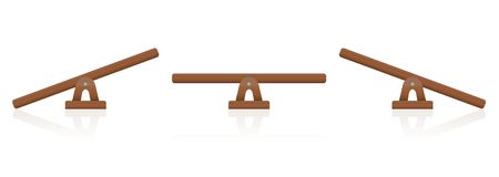 Seesaw Wooden Balance Scale. Seesaw or wooden balance scale set of three items - balanced and unbalanced, equal and unequal weightiness - isolated vector Royalty Free Stock Images