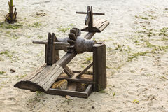 Seesaw wooden on the beach Stock Photo