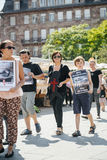 Seeschäfer, der gegen Gemetzelversuchswalfestnahme von protestiert Lizenzfreies Stockbild