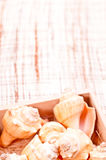 Seeshells in einem Kasten auf einer Kokosnussmatte Lizenzfreies Stockfoto