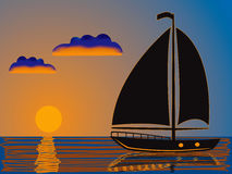Seesonnenuntergang und -yacht stock abbildung
