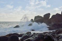 Seespritzen - Seychellen lizenzfreie stockfotos