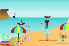 Seestrandillustrationen, Reisender und schöne Seeinseln und Sommerreiseideen Stockfotos