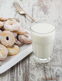 Seet fresh cookies with a cup of milk Royalty Free Stock Photo