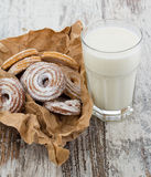 Seet fresh cookies with a cup of milk Stock Photo