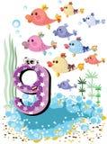 Seetiere und Zahlserie für Kinder, 9 Fische Lizenzfreies Stockbild