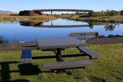 Seeufer-Picknick Stockfoto