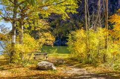 Seeufer-Picknicktisch unter herbstlichen Bäumen Stockfotografie