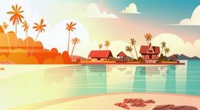Seeufer-Strand mit Landhaus-Hotel-schönem Sonnenuntergang-Küsten-Landschaftssommer-Ferien-Konzept