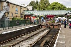 Seeufer und Haverthwaite-Eisenbahn stockfotos