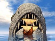 Seeungeheuer mit Segelschiff Lizenzfreies Stockfoto