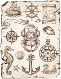Seevektor-Illustrations-Satz Stockfoto