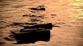 Seewelle mit Betonblock stock video