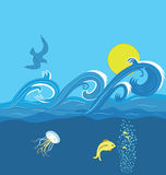 Seewellen vektor abbildung