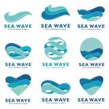 Seewellen-Logosatz Innerhalb des Archivs können Sie Dateien in solchen Formaten finden: ENV, ai, Cdr, Jpg Lizenzfreie Stockbilder