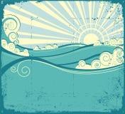 Seewellen. Weinleseabbildung der Seelandschaft stock abbildung