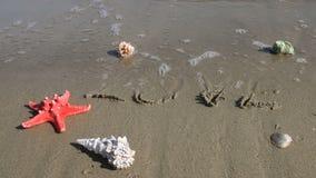 Seewellenlöschen-Wortliebe handgeschrieben auf Sand stock footage