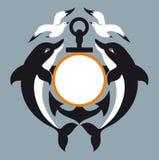 Seezeichen. Anker. Delphin. Seemöwe Stock Abbildung