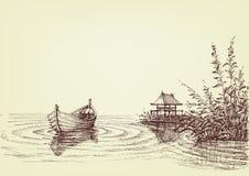 Seezeichnung, leeres Boot auf Wasser
