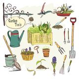 Sef of gardening tools. Hand drawn sef of gardening tools for plants flowers farming and agriculture vector illustration Stock Photos