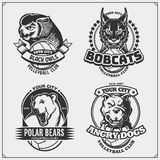Sef of volleyball badges, labels and design elements. Sport club emblems with pitbull, owl, bobcat and polar bear. Print design fo. R t-shirts. Vector vector illustration