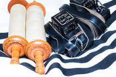 Sefer Torah (Bible), With tefillin Royalty Free Stock Images