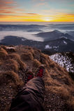 Seflie picture at the sunrise in Carpathians. Spectacular sunset  in Carpathians Mountains Stock Photos