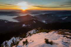 Seflie picture at the sunrise in Carpathians. Spectacular sunset  in Carpathians Mountains Royalty Free Stock Images