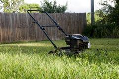 Segadeira de gramado no quintal Imagens de Stock