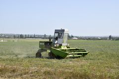 A segadeira no campo sega a grama para o feno Imagem de Stock