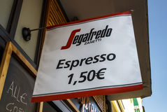 Segafredo Espresso sign in Munich, Germany, 2015 Royalty Free Stock Photography