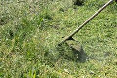 Segando a grama com uma segadeira fotografia de stock