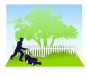 Segando o gramado na mola ilustração do vetor
