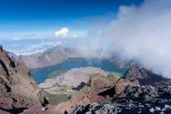 Segara anak lake view from top of rinjani mount Stock Images