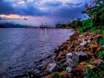 segara da praia anakan na cidade Indonésia do cilacap foto de stock royalty free